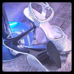 Silver Glitter sz 6 dance heels by Pleaser